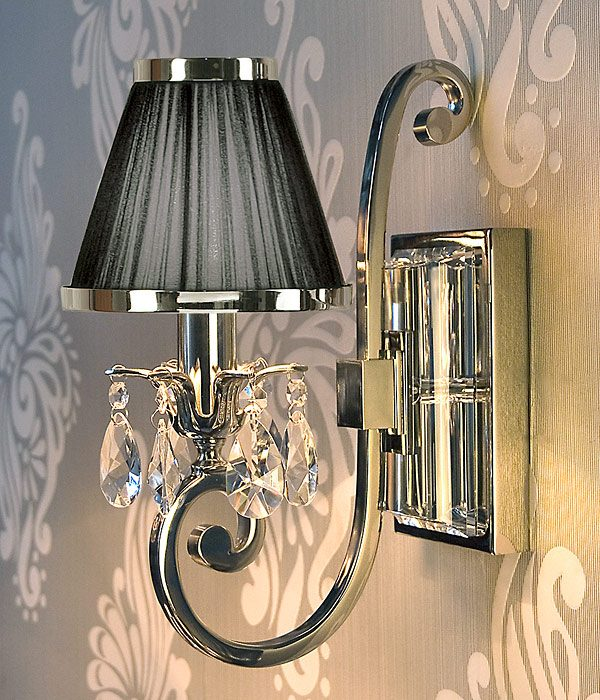 Luxuria 1 light wall lamp with Black shade
