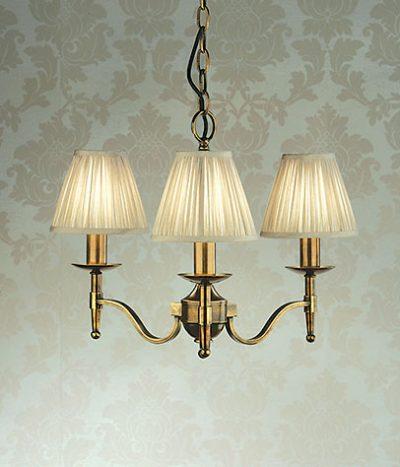 Stanford 3 light chandelier brass