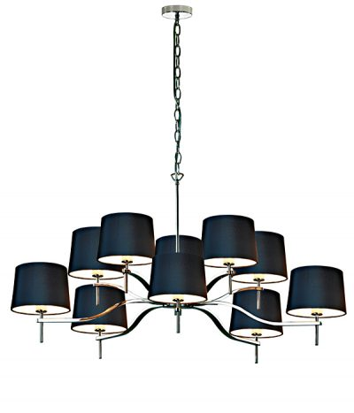 Grace 10 Light chandelier with Black shades
