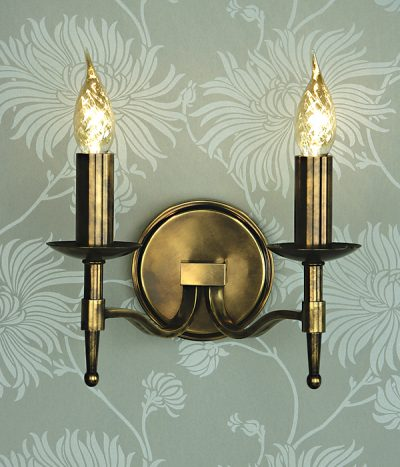 Stanford 2 light wall lamp oxidised brass no shade